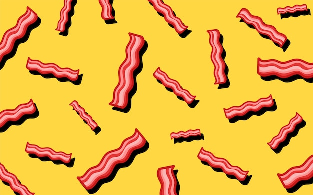 Bacon Pattern Food Wallpaper Illustration Vector Free Download