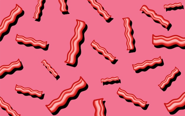 Bacon pattern food wallpaper illustration Free Vector