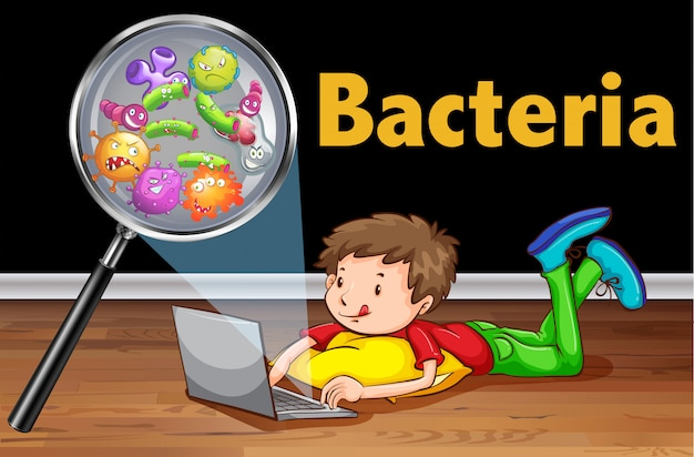 Bacteria on computer laptop Free Vector