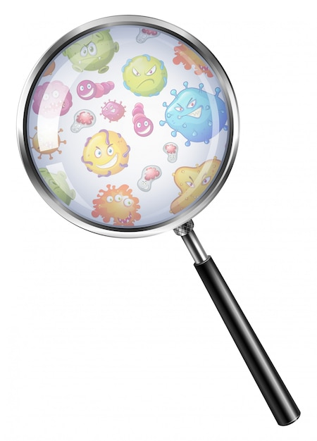 Bacterias through magnifying glass Free Vector