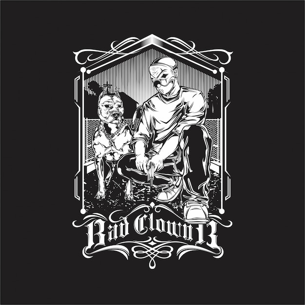 Bad clown and pit bull Premium Vector