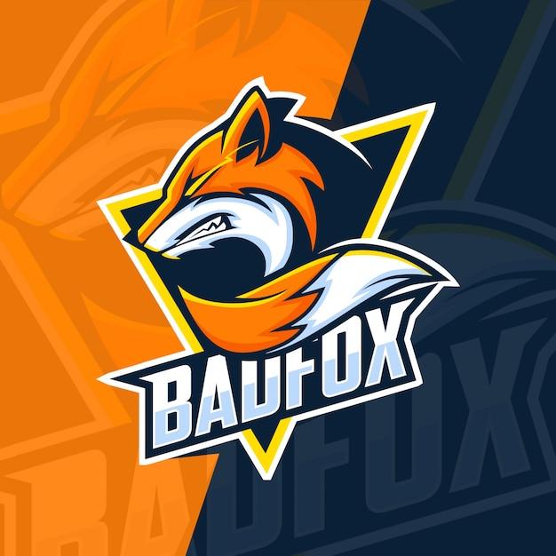 Bad fox mascot esport logo design Premium Vector