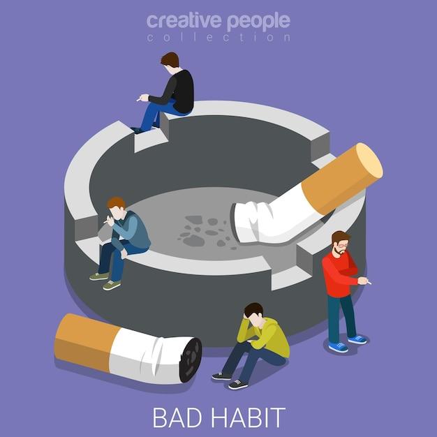 Плохая привычка курильщиков пепельница плоская изометрия Premium векторы