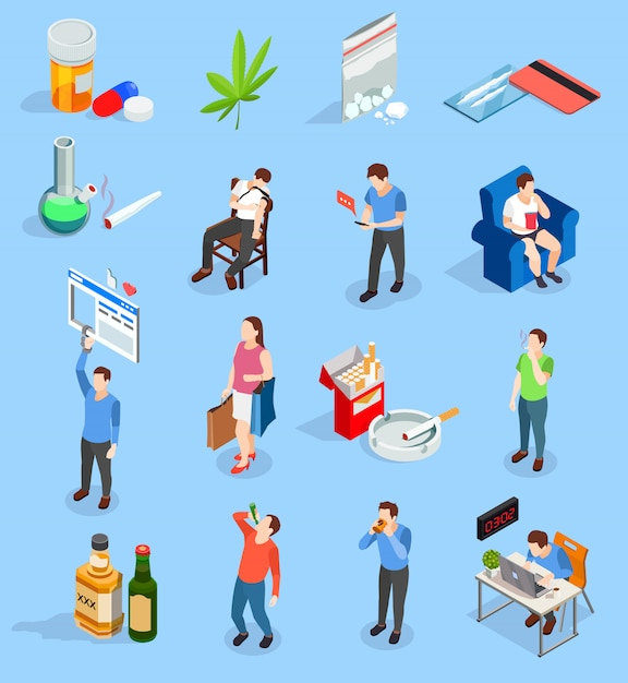 Bad habits people isometric icons Free Vector