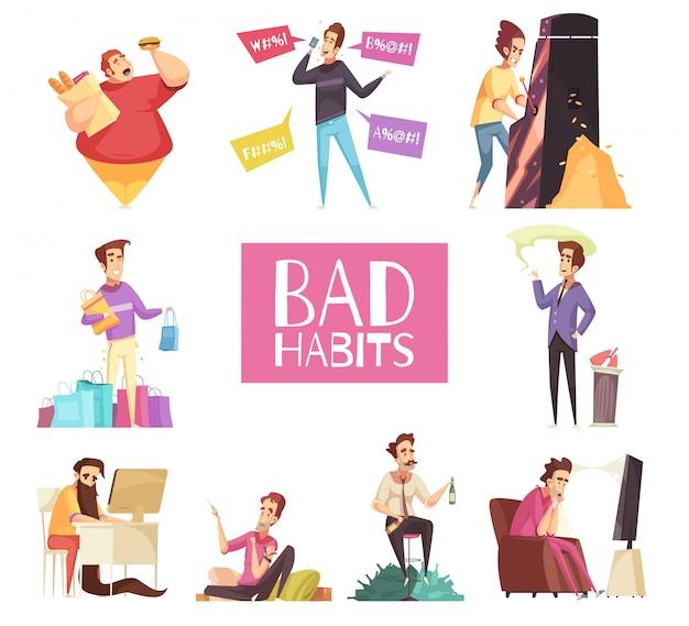Bad habits set Free Vector