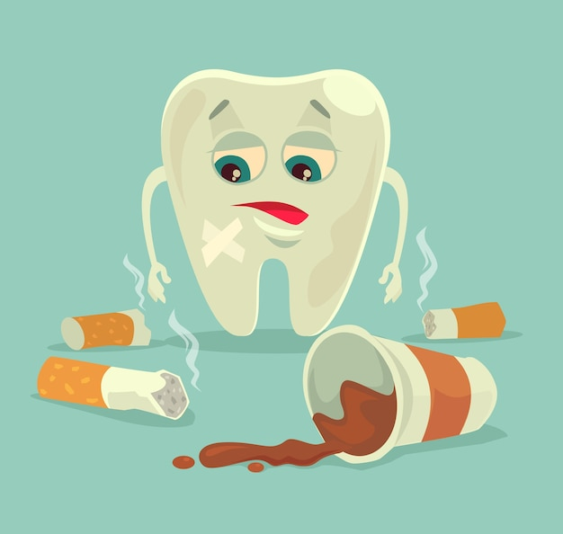 Bad habits. unhealthy tooth character with coffee and cigarette. Premium Vector
