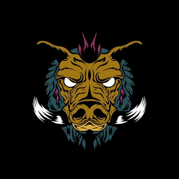 Bad hog illustration Premium Vector