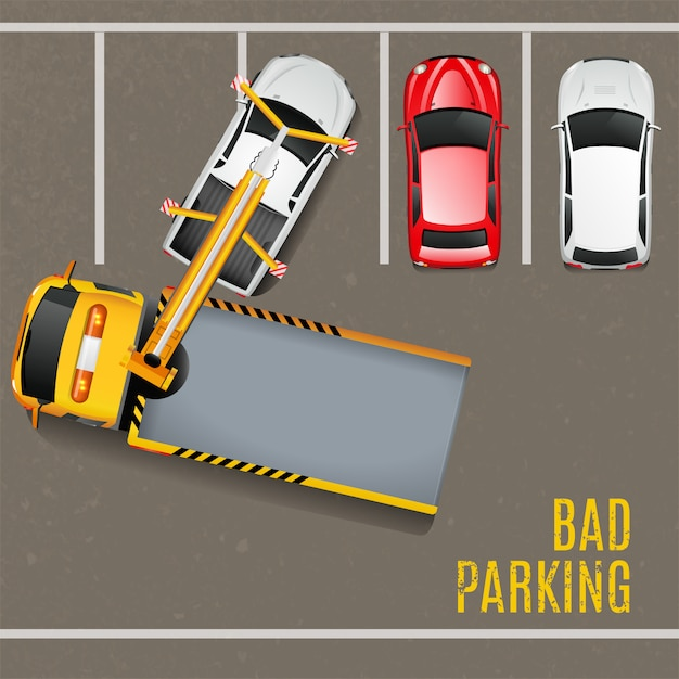 Bad parking top view background Free Vector