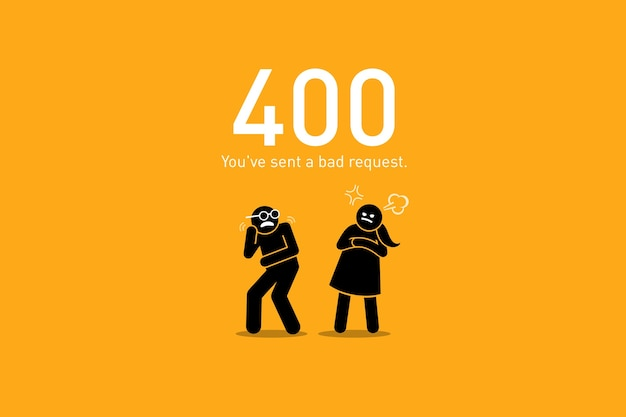 Bad request. vector artwork depicts a funny and humorous scenario with human stick figure for website http request error. Premium Vector