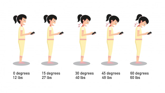 The bad smartphone postures, the angle of bending head related to the pressure on the spine. vector Premium Vector