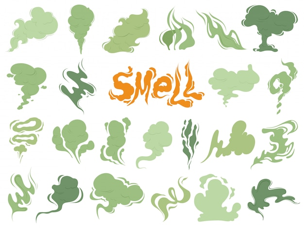 Bad smell, steam smoke clouds of cigarettes or expired old food cooking cartoon icons Premium Vector