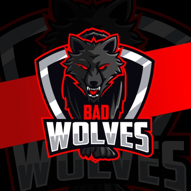 Bad wolves mascot esport logo design Premium Vector