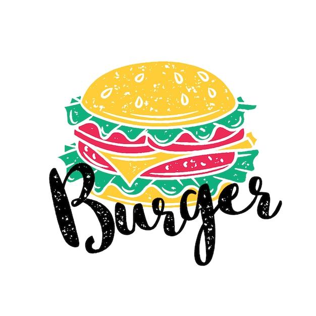 Badge burger Premium Vector