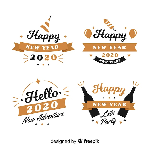 Badge collection of flat design new year Free Vector