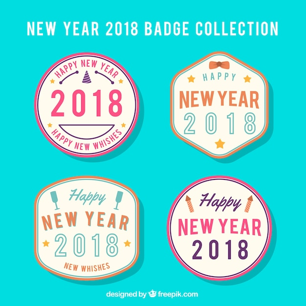 Badge collection for new year 2018