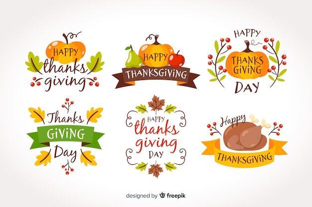 Badge collection for thanksgiving day Free Vector