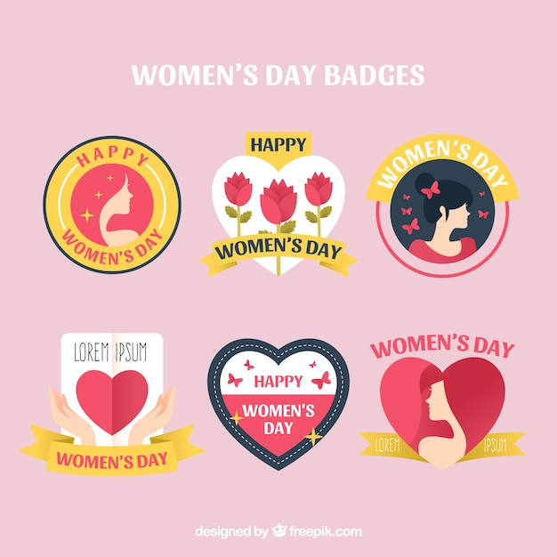 Badge collection for womans day Free Vector