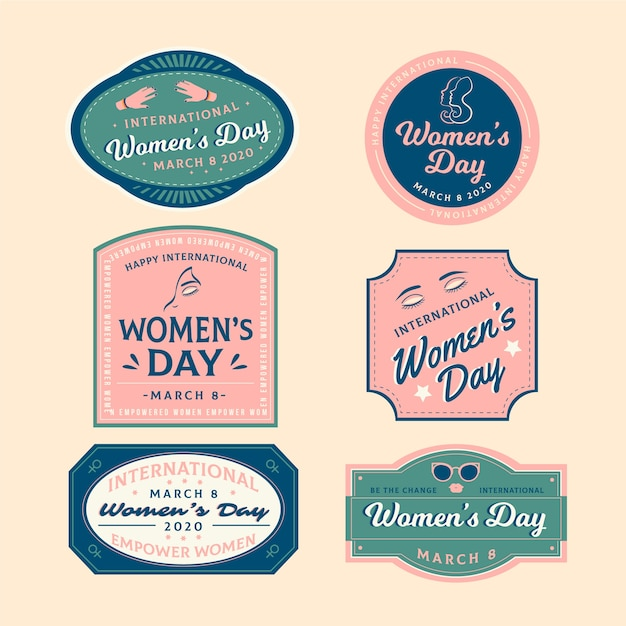 Badge concept for women day Free Vector