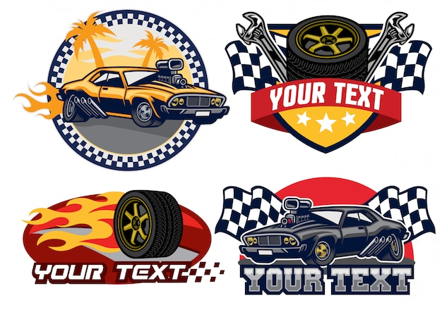 Badge design muscle car Premium Vector
