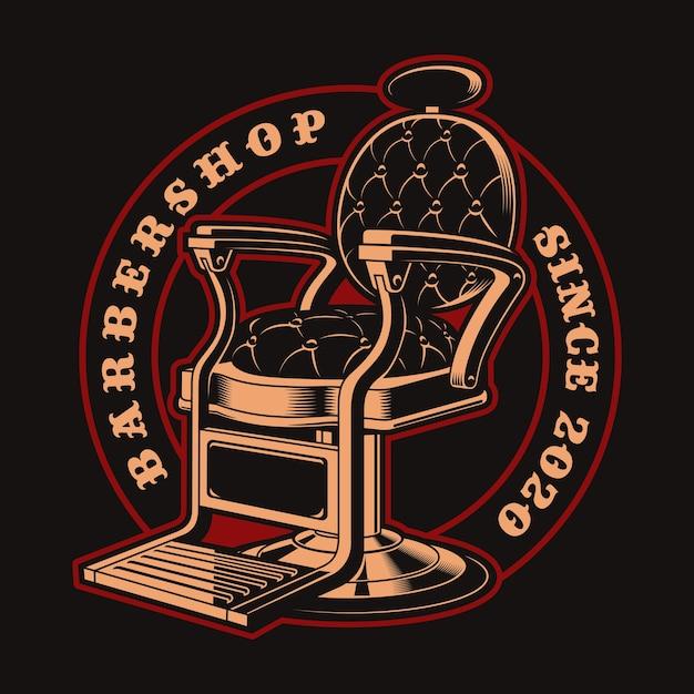 暗い背景にビンテージスタイルの理髪店のテーマのバッジ。これはロゴ、シャツプリント、および他の多くの用途に最適です。 Premiumベクター