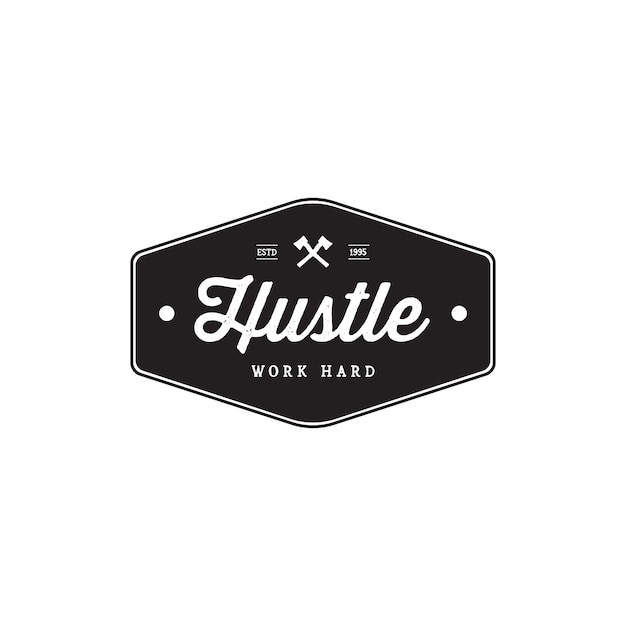 Badge hustle vintage style brand badges Premium Vector