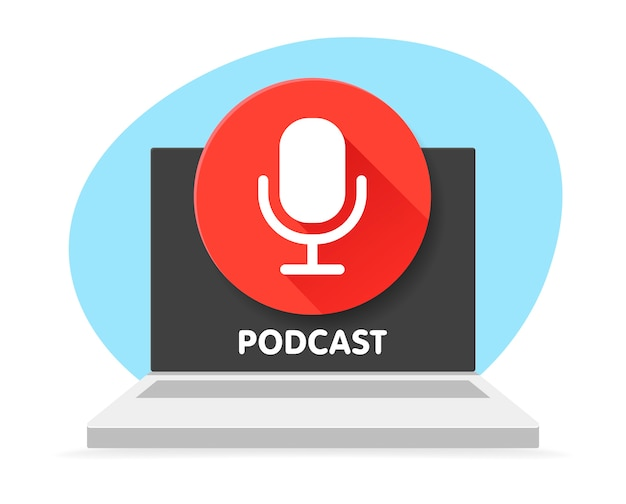 Badge microphone for podcast and laptop computer.   illustrations. radio microphone. digital content. podcast symbol that can be used for any platform and purpose. Premium Vector
