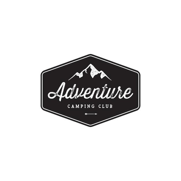 Badge mountainビンテージロゴデザイン Premiumベクター