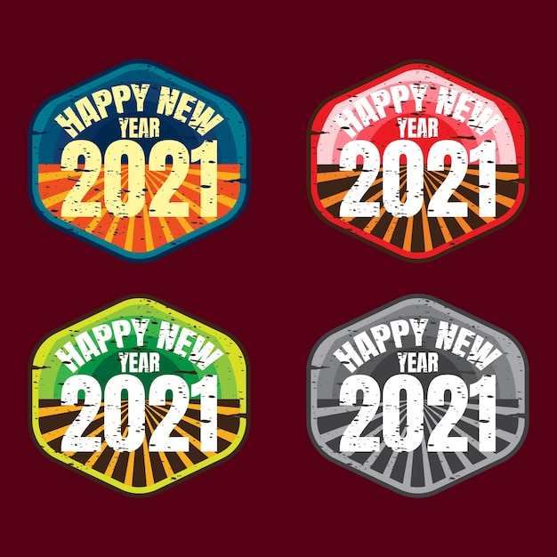 Badge pack of happy new year Premium Vector