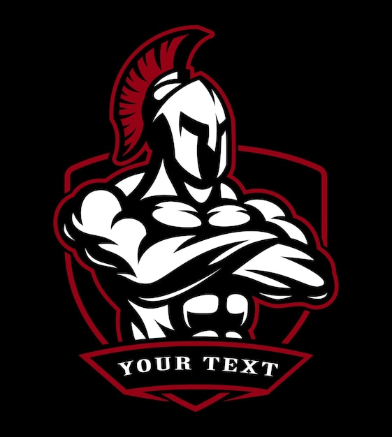 Badge of spartan warrior.  for fitness centres, fight clubs. Premium Vector
