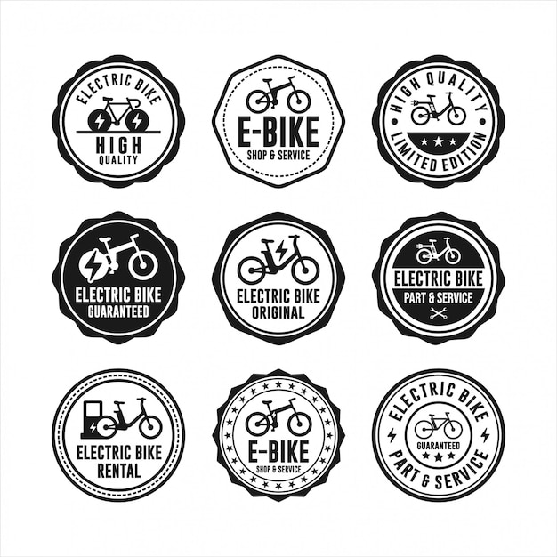 Badge stamps electric bike collection Premium Vector