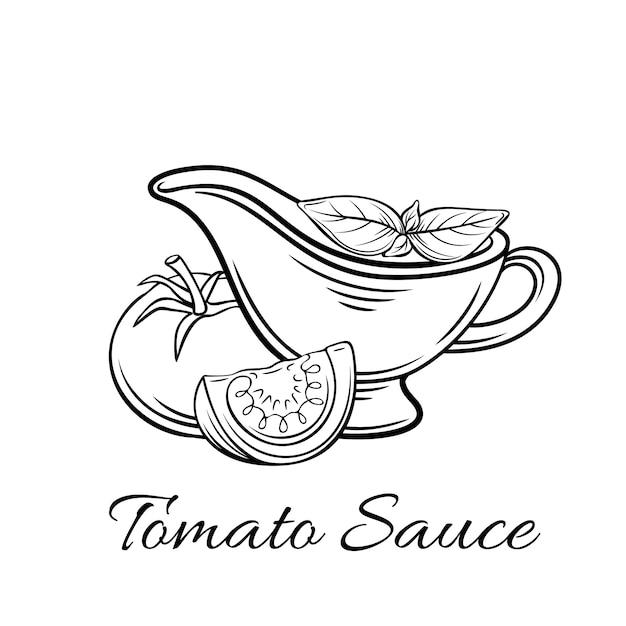 バッジトマトソース。ロゴ食品、古いスタイルのエンブレム。 Premiumベクター
