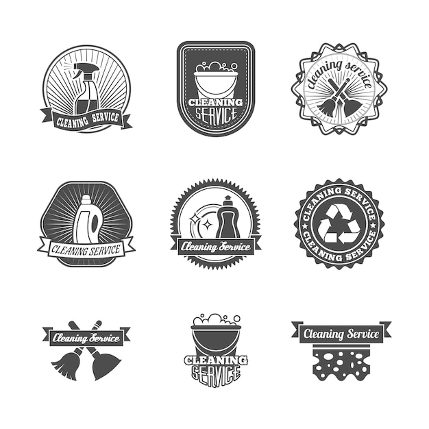 Badges about cleaning Free Vector