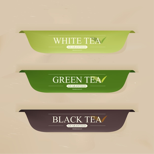 Badges or banner with tea drink menu. Premium Vector