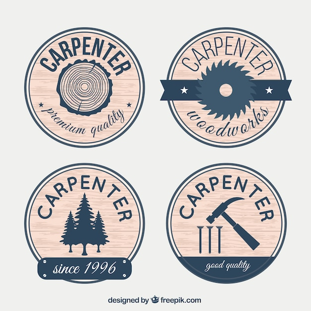 Badges for carpentry with wood effect Free Vector
