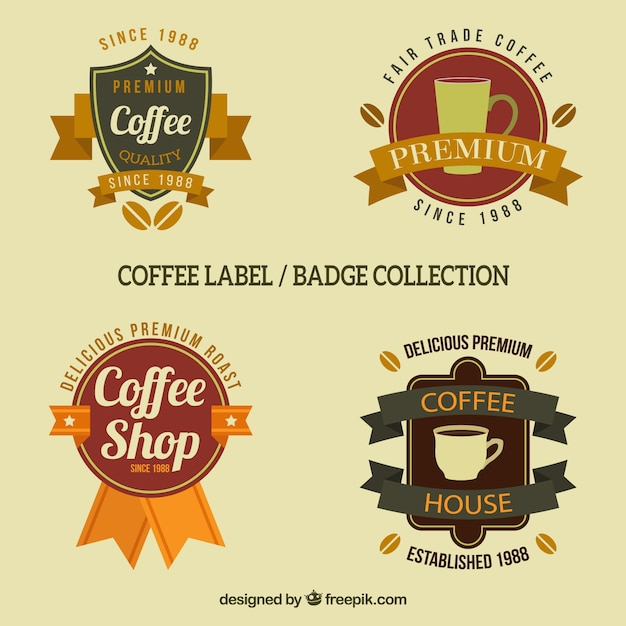 Badges for coffee with ribbons