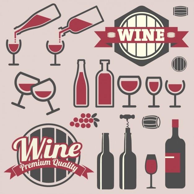 Scudetti e icone del design del vino Vettore gratuito