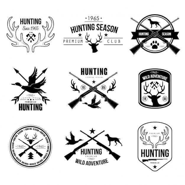 Badges labels logo design elements hunting Premium Vector