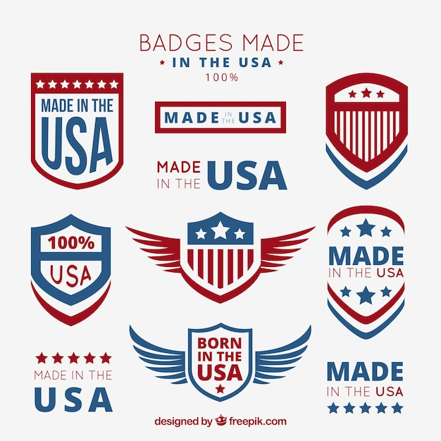 Badges Made In The Usa Vector Free Download