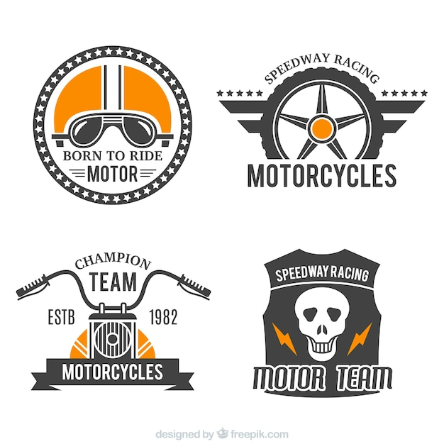 Badges for motorcycles Free Vector