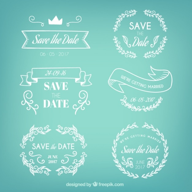 Badges set of hand drawn wedding Free Vector
