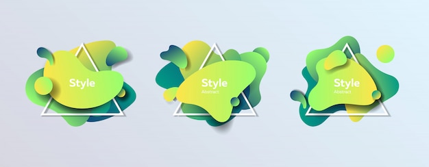 Badges set for poster Free Vector