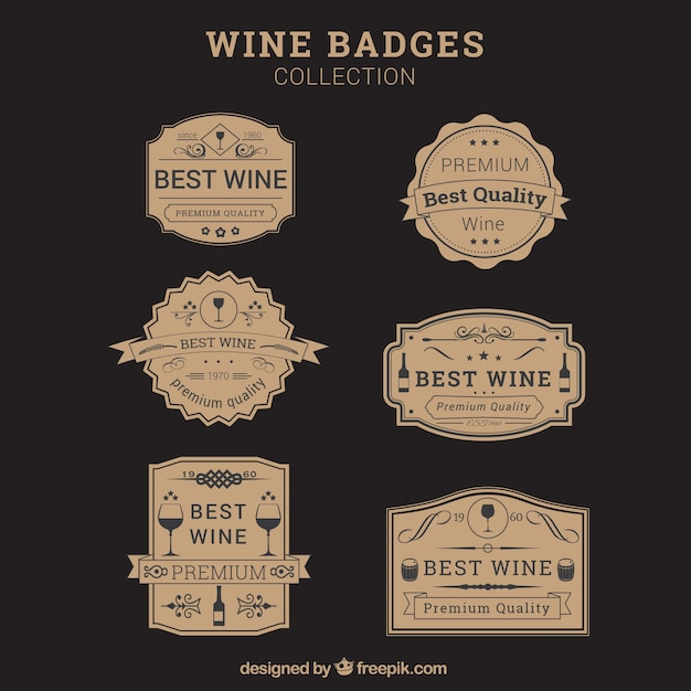 Badges wine in vintage design