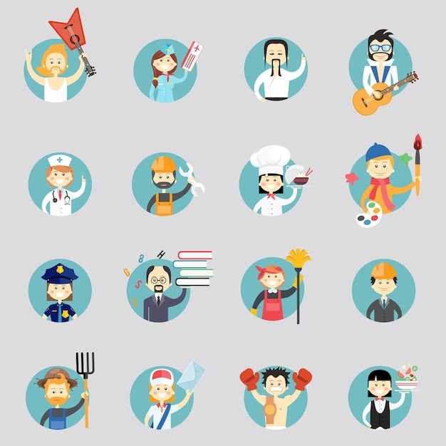 Badges with avatars of different professions with musicians  martial arts  doctor  construction worker  chef  artist  policewoman  professor  cleaner  architect  farmer  postman and waitress Free Vector
