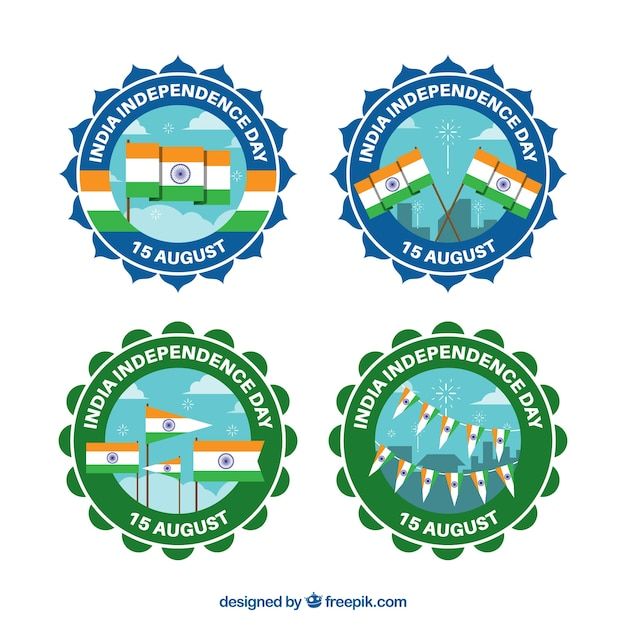 Badges with flags for the independence day of india