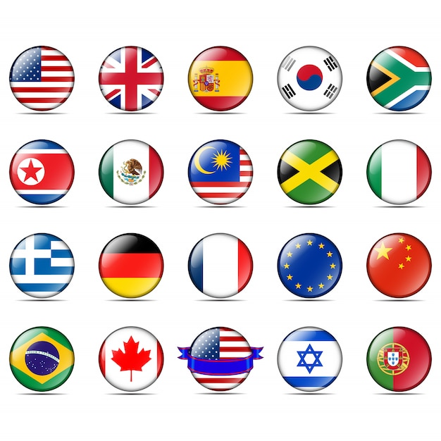 Badges with flags Premium Vector