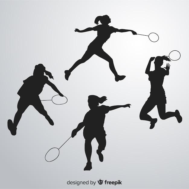 Badminton player silhouette collectio Free Vector