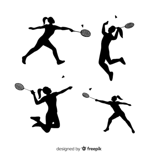 Badminton player silhouette collection Free Vector