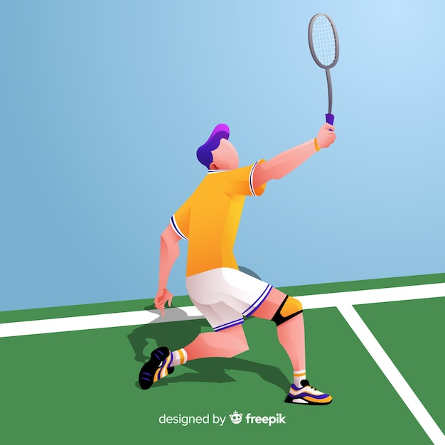 Badminton player with racket and feather Free Vector