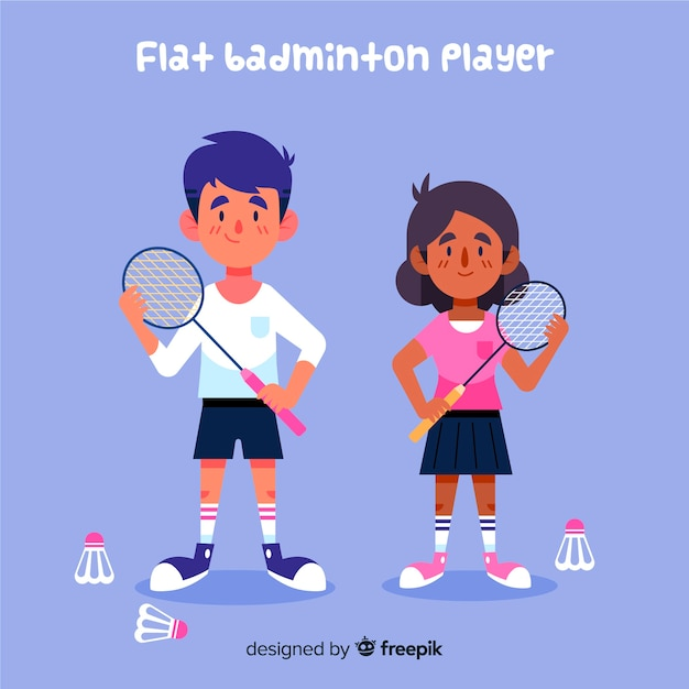 Badminton players Free Vector