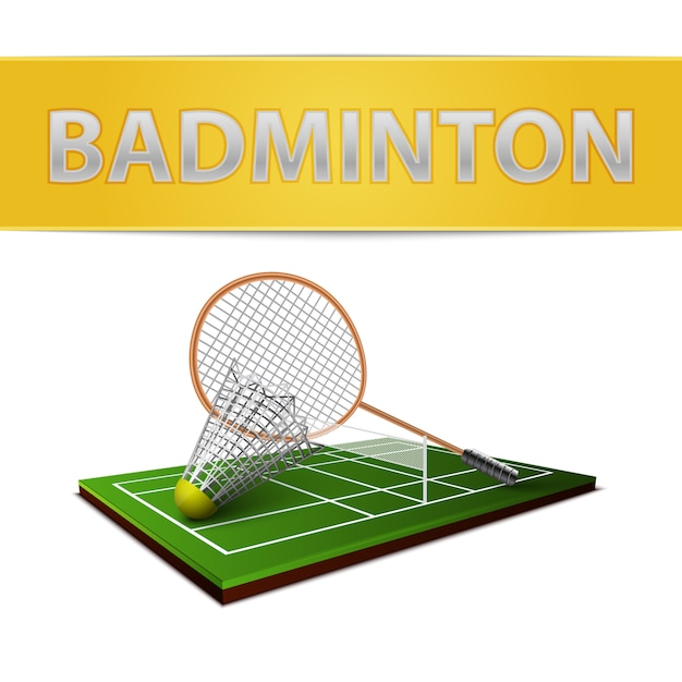 Badminton shuttlecock and racket emblem Free Vector